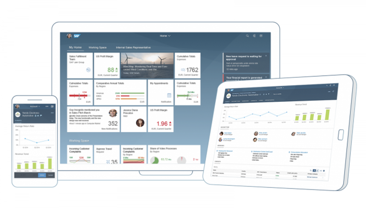 Application SAP FIORI 2.0 sur desktop, mobile et tablette
