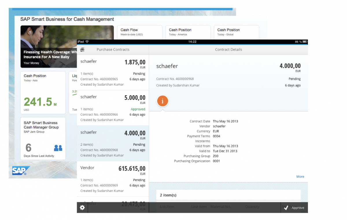 Screenshot d'une application SAP FIORI concernant le Cash Management